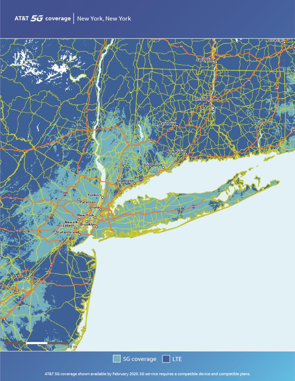 Mapa de Nueva York de AT & T 5G