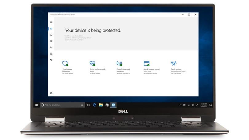 Windows Defender en una computadora portátil Dell