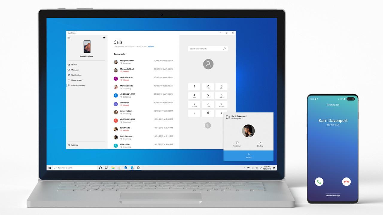 Windows 10 hace llamadas telefónicas de Android