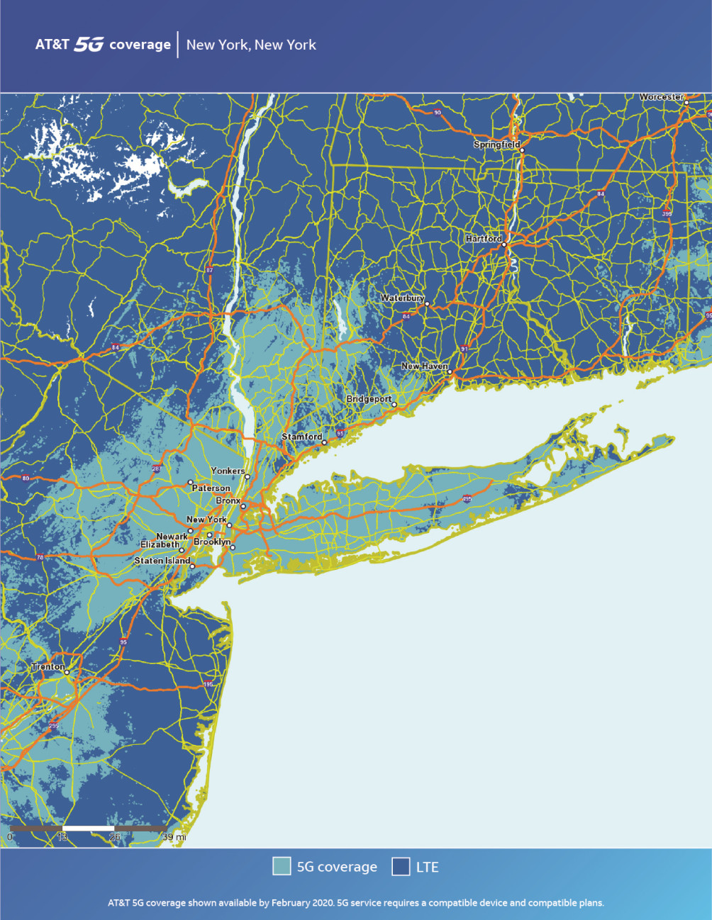 Mapa de Nueva York de AT & T 5G