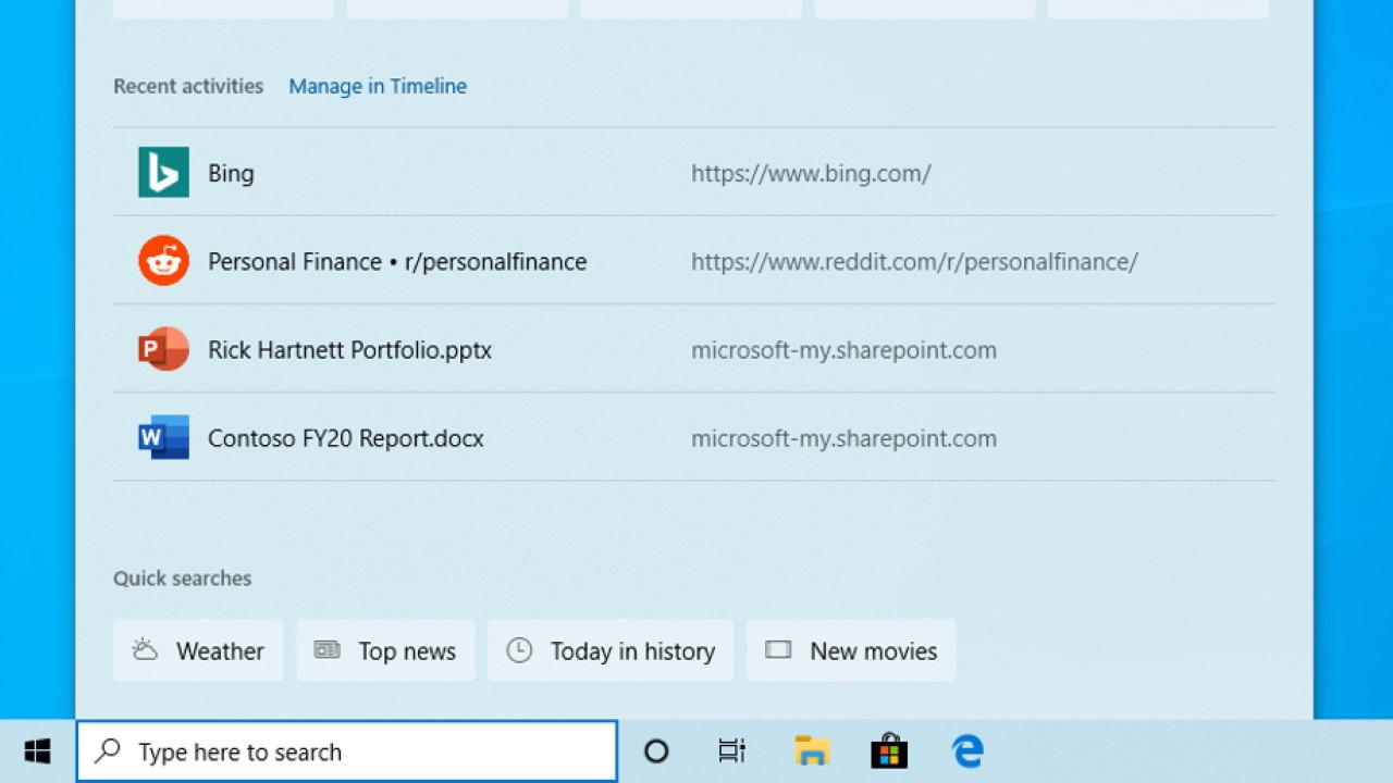 Botones de búsqueda rápida de Windows 10 Insider Build