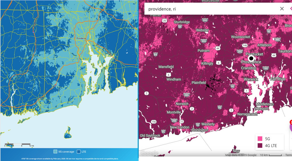 Comparación de tarjetas T-Mobile y AT&T 5G - Providence