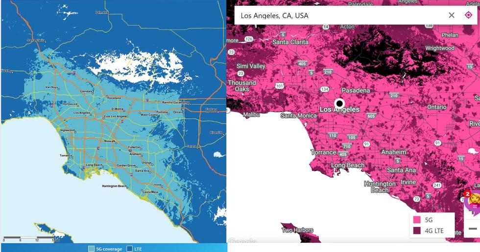 Comparación de tarjetas T-Mobile y AT&T 5G - LA
