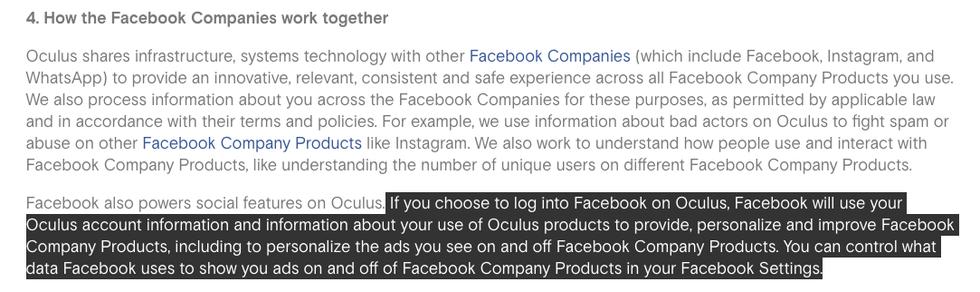 Política de privacidad de Oculus