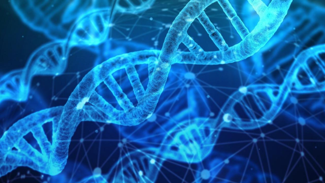 Muestra de ADN azul