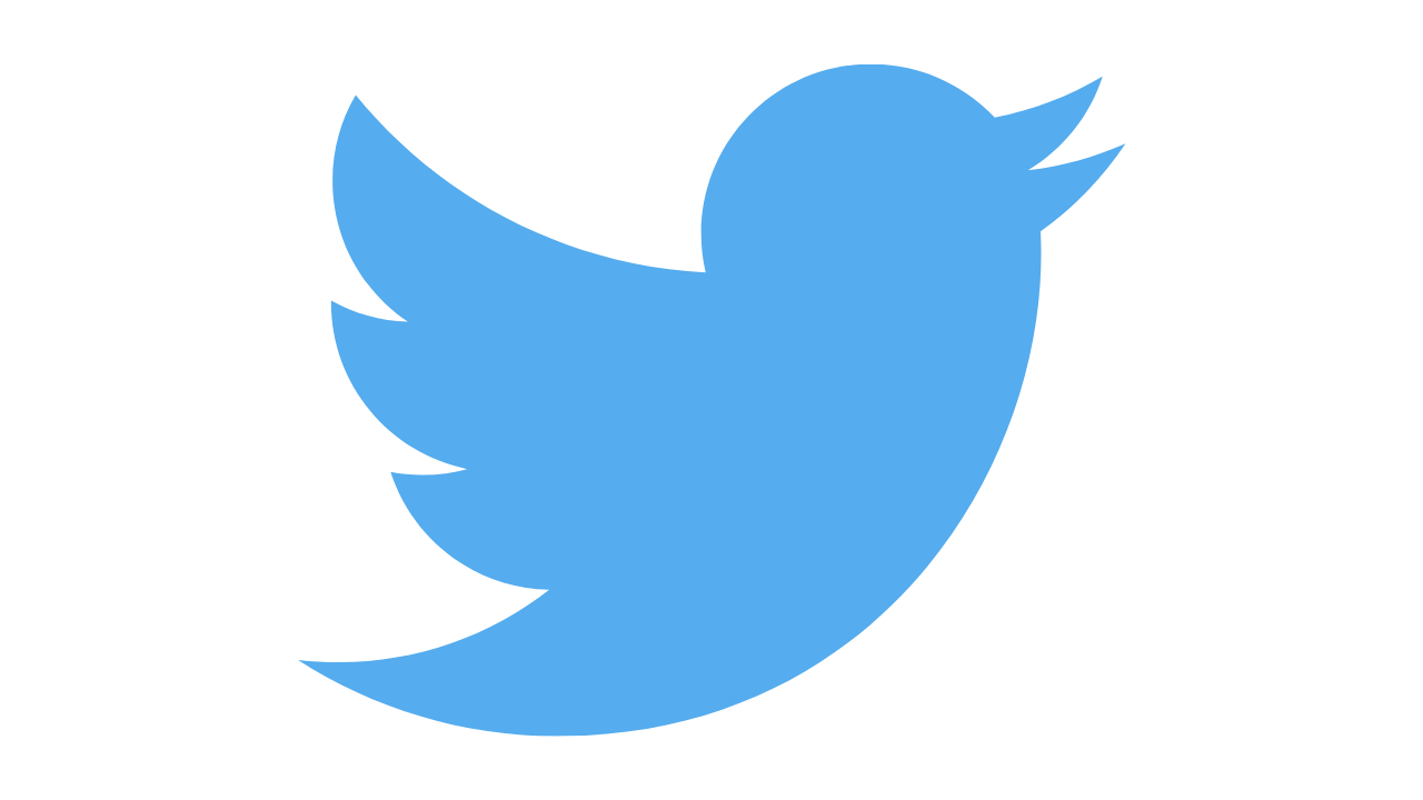 Logo azul de Twitter en blanco
